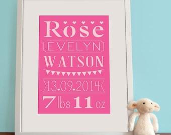 Baby Girl, Nursery Decor, Birth Announcement, Personalised, Papercut, Wall Art Print, Baby Shower Gift, Custom Birth Print
