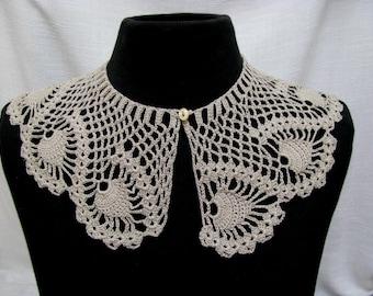 Crochet Collar Detachable Lace Collar Scalloped Scarf Neck Wrap Cotton Crochet Necklace Ecru Fishnet Handmade Floral Lace Romantic Accessory