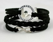 Volleyball Bracelet, Pick COLOR/SIZE -Volleyball Infinity Charm Braid Bracelet, Faux Suede Leather Cord w/Extension Chain, Gift For Her T755