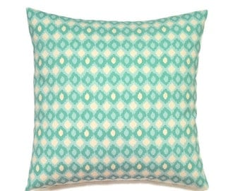 Aqua Pillow Cover, 18x18 Pillow Cover, Turquoise Decorative Pillows, Summer Decor, Accent Summer Nautical Pillow, Cirque Reef