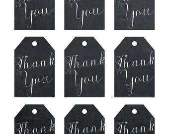 printable thank you tags, chalkboard thank you tags, digital thank you tags, chalkboard favor tags, instant download