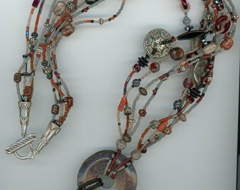 Dinosaur Bone Necklace, Dinosaur Bone, Multi-Strand, Lariat, Lariat Necklace, Handmade Jewelry, Artisan Jewelry, Fossilized Dinosaur Bone