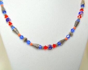 Sapphire & Hyacinth Crystal Necklace