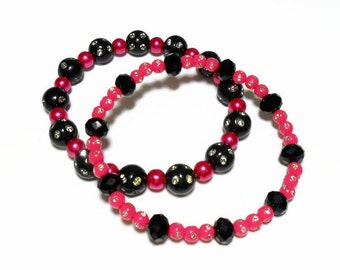 pink and black bracelet set, fushsia pink and black, stretch bracelets, black and pink bubble gum bracelets, friendship bracelet set, bestie