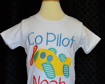Personalized Airplane Applique Shirt or Onesie Boy or Girl