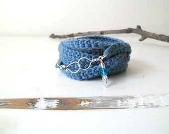 Crochet  wrap bracelet assorted colors - textile jewelry with czech crystal beads.
