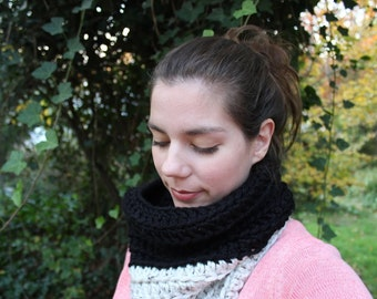 SALE! Crocheted Two Tone Cowl Scarf - Aspen Tweed and Black