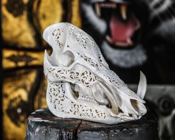 hand carved pig skull boar wild boar skull animal skull