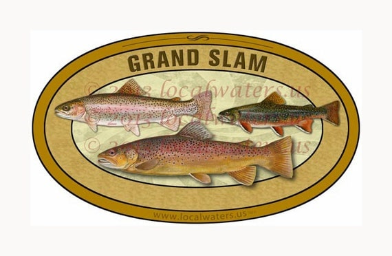 Grand slam trout fishing sticker decal fishing gift for Grand slam fishing