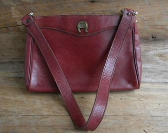 Vintage Etienne Aigner Oxblood Leather Purse / Aigner Purse / Vintage Maroon Aigner Purse