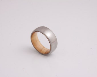 olive wood ring titanium band mens wedding wood ring