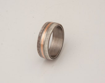 titanium and antler ring with copper inlay