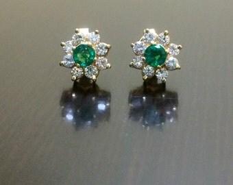 14K Yellow Gold Halo Diamond Emerald Earrings - 14K Gold Emerald Stud Earrings - 14K Emerald Diamond Earrings - Halo Emerald Gold Earrings