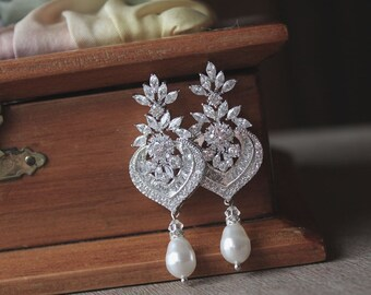 Crystal Bridal Chandelier Earrings, Deco Style CZ Bridal Earrings, Pearl Drop Earrings, Wedding Jewelry, Bridal Jewelry, CAMILLE
