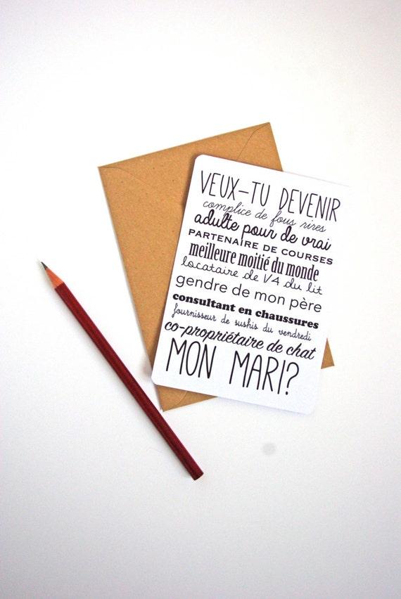 Carte postale demande en mariage homme femme frais de port - Message boulette mariage ...