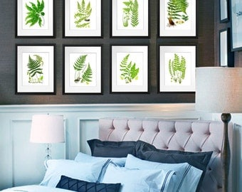 Botanical Art Set Ferns Art Prints set of 12, Antique Botanical Print Fern Prints Nature Decor Green Wall Art Decor leaves Victorian Art