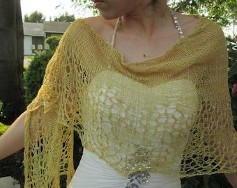 rumpelstiltskin shawl, handknit, silk lace, beaded