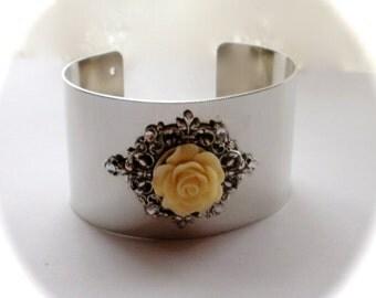Rose Cuff Bracelet, Floral Cuff Bracelet, Swarovski Crystals, Ivory Rose Silver Filigree Bracelet, Wedding, Floral Jewelry, Gift for Her