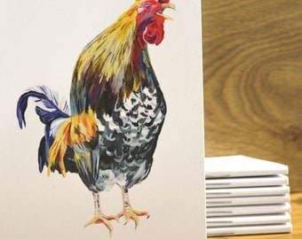 Rooster Design / A6 Notebook (15cm x 10cm)
