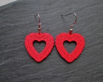Red Wooden Heart Charm Earrings
