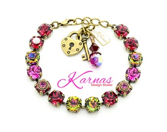TRUE LOVE 8MM Crystal Chaton Bracelet Made With Swarovski Elements *Antique Brass *Karnas Design Studio *Free Shipping*