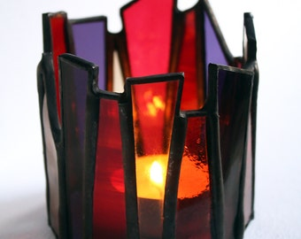 GLASS CANDLE HOLDER 'Candle Crown' - Colourful Stained Glass, Tea Light Holder, Table Decoration, Home Accessories, Handcrafted Centrepiece