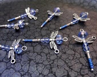 Handmade Blue Crystal Dragonfly Dangles