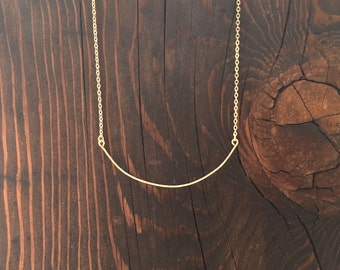 Thin Brass Hammered Curved Bar Necklace with Delicate Chain