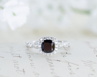 Sale - Black Halo Engagement Ring  - Halo Ring - Wedding Ring - Promise Ring - Cushion Cut - Vintage Style - Art Deco - Sterling Silver