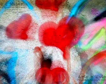 HeartBeat#2.Digital photo of murals - urban art - wall art.Red heart print, gift for anniversary or engagement.Valentine romance, for lovers