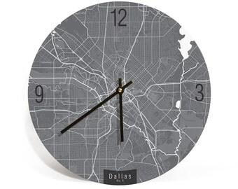 "DALLAS MAP ART Wall Clock - Unique Contemporary Art Wall clock - 11"" and 16""  Diameter"