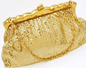 Vintage Whiting and Davis Gold Mesh Purse - 1950s Gold Evening Bag - Metal Mesh Purse For Wedding - Mad Men Gift For Her - Formal Purse