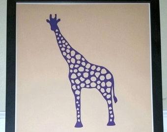 Purple Papercut Giraffe