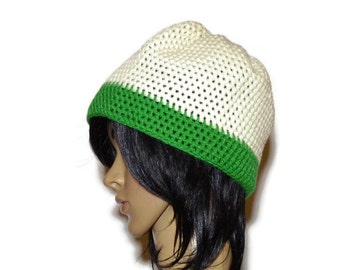 Crochet cap size Small, Green and white crochet hat