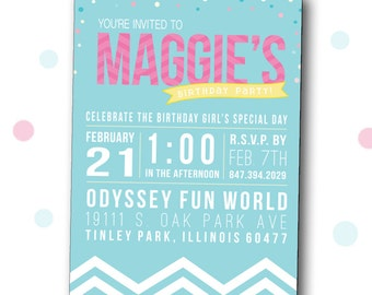Girl Birthday Invitation, Confetti and Chevron Birthday Invite, Birthday Invitation, 5x7, Digital File, JPEG, DIY, Printable