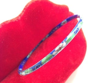 Vintage Cloisonne Bangle Bracelet Flowers Blue Enamel