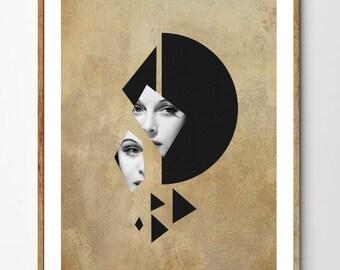 Fixation - Art Deco Print, Mixed Media Collage Art, Geometric Art, Vintage Photo Woman, Surreal Art, Portrait