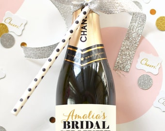 Custom Bridal Shower Mini Champagne Bottle Labels - Weatherproof  Wedding Shower Favors Thank You Bachelorette Party Decorations