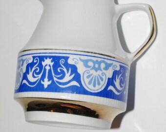Classic Vintage Milk Jug Pitcher Creamer Polish Ceramics/ Blue White Flowers Golden Elements / Made in Poland Polish ceramics Polish pottery