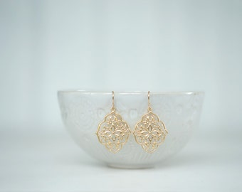 Gold Scroll Pendant Earrings