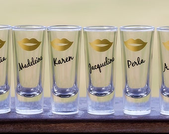 Shot glass. 2 oz, Bridesmaids, bride, golden yellow lips, purple, black, Gold, hot pink, sorority sisters. This listing is for one glass.