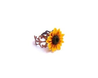 Sunflower Ring, Adjustable Ring, Shabby Chic Cocktail Ring, Handmade Gifts Bridal Jewelry Bridesmaids Accessories