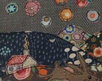 Bonfire Night Hare Original Textile Artwork - unframed