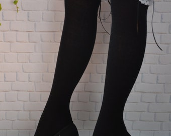 SALE Thigh High black socks,  black  thigh socks with white lace ,sexy long stockings, over the knee socks, lace long  socks