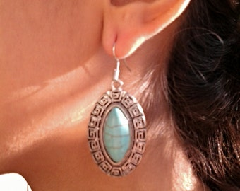 Turquoise Oval Aztec Dangle Silver Earrings / Howlite Turquoise Earrings.