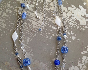 Blue and silver 2 strand necklace.