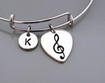 Guitar pick Bangle, Guitar pick bracelet, Music, Expandable bangle, Personalized bracelet, Charm bangle, Monogram, Initial bracelet