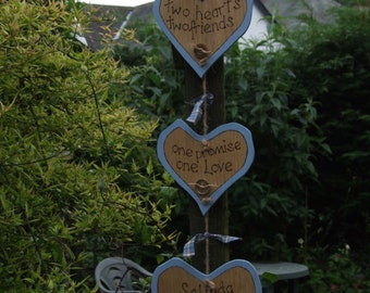 Wooden heart shaped hanging plaque for weddings, anniversaries