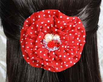 Red Hair Clip Red & White Polka Handmade Flower Hair Pin Rhinestone Pearl Rose Hair Accessories Red Hair Bow Girl's Accessories