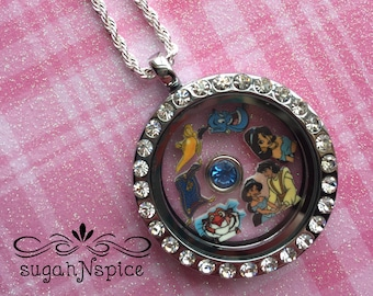 Aladdin Floating Locket - Jasmine Floating Charm - Memory Locket - Jasmine Floating Locket - Aladdin Memory Locket - Aladdin Floating Locket